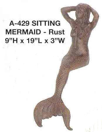 Cast Iron  -  Decorative Detailed Sitting Mermaid  for Pool or Patio - 2 Colors - Olde Church Emporium