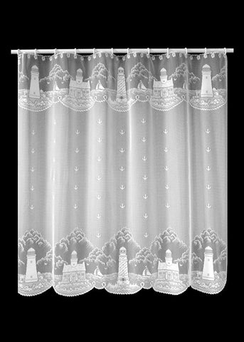 Heritage Lace Lighthouse 72-Inch by 72-Inch Shower Curtain, White