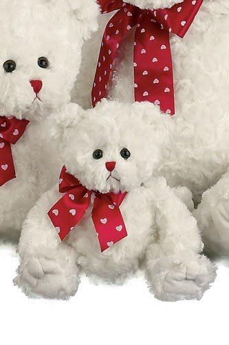 Bearington - Lil' Lovable White Bear with Red Ribbon for Valentines Other Sizes Available - Olde Church Emporium