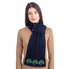 Aran Loop Scarf 32 x 8 Inches featuring Shamrock Pattern Made in Ireland - Olde Church Emporium