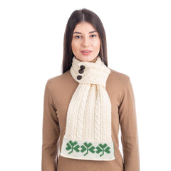 Aran Loop Scarf 32 x 8 Inches featuring Shamrock Pattern Made in Ireland
