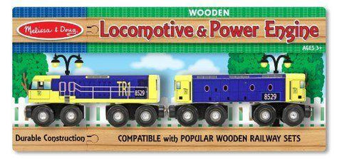 Melissa & Doug Locomotive and Powerl Engine Wooden Railway Set for 3yrs +