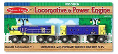 Melissa & Doug Locomotive and Powerl Engine Wooden Railway Set for 3yrs + - Olde Church Emporium