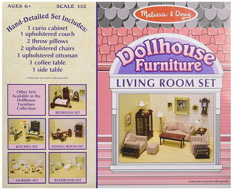 Melissa & Doug - Classic Victorian Wooden and Upholstered Dollhouse Living Room Furniture (9 pieces)