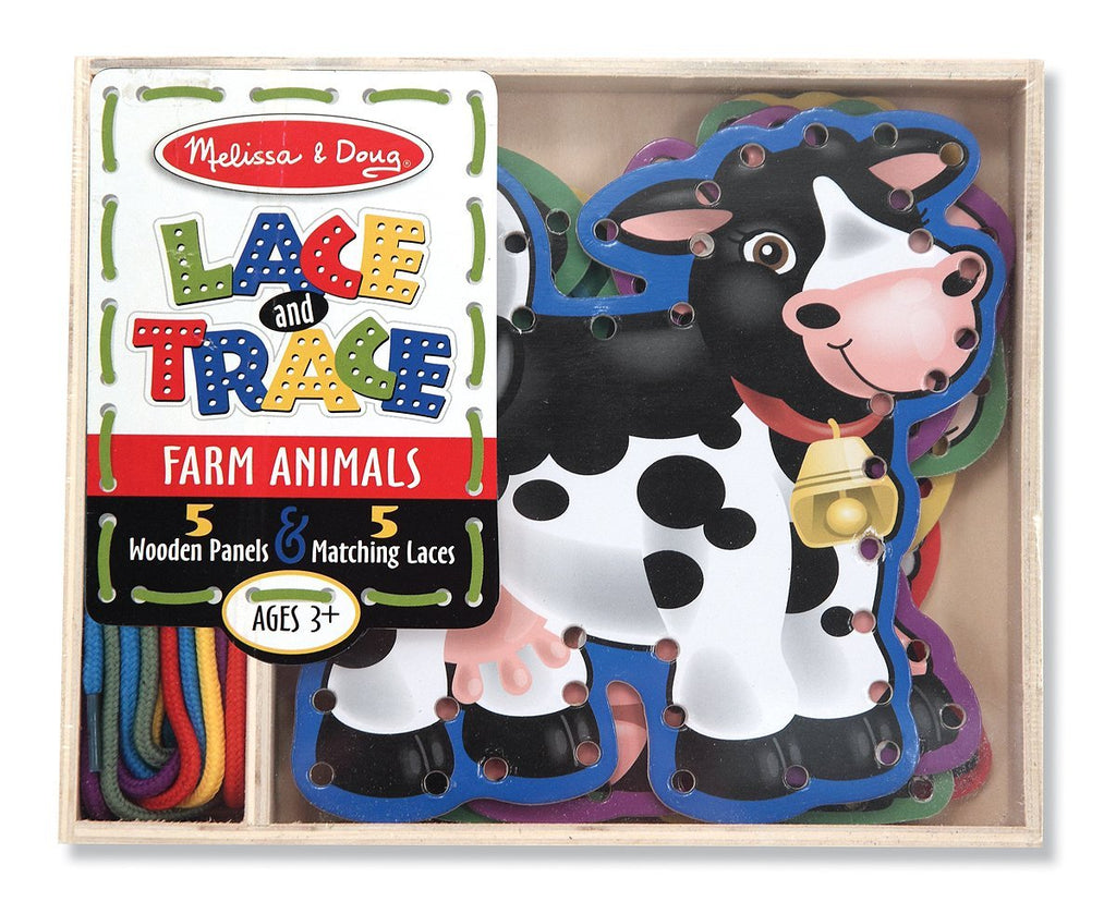 Melissa & Doug - Lace and Trace Activity Set: 5 Wooden Panels and 5 Matching Laces - Farm Animals [Home Decor]- Olde Church Emporium
