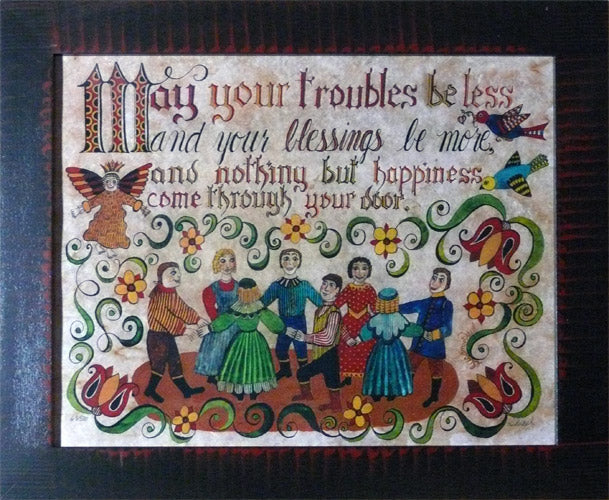 Fraktur - May your Troubles be Less American Folk Art, Collectible, Affordable Art