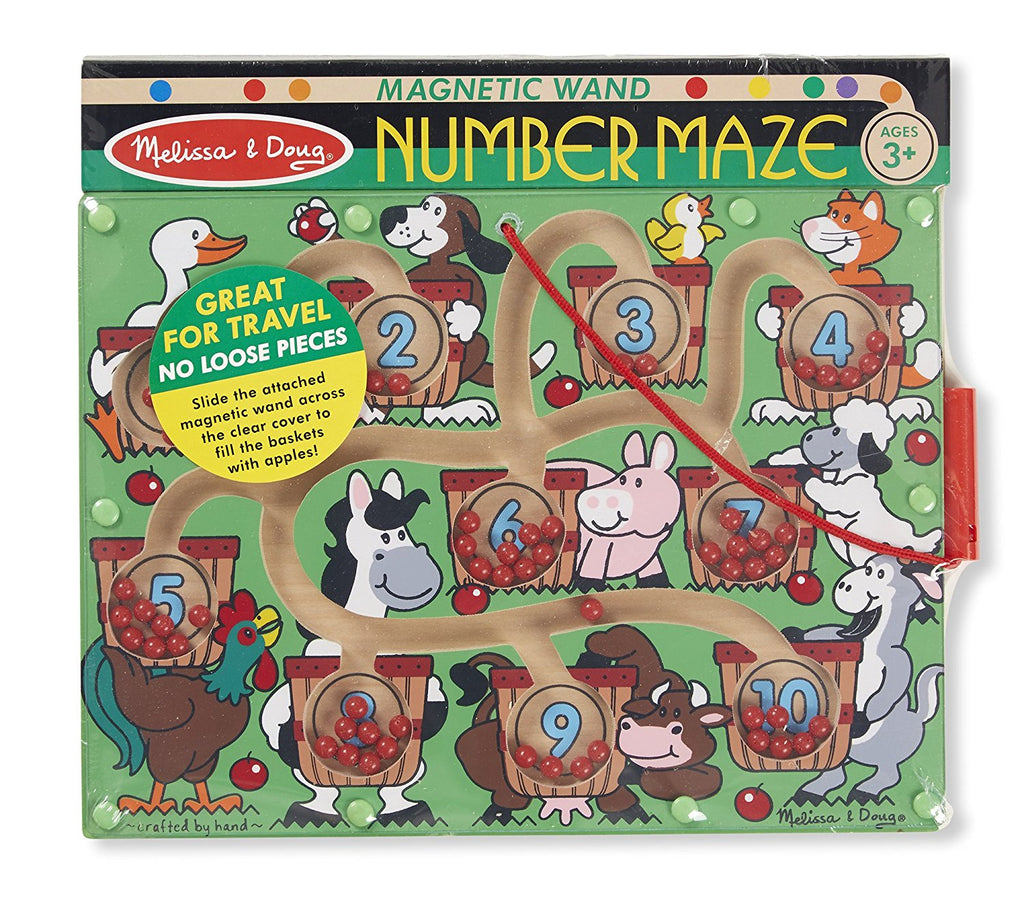 Melissa & Doug - Magnetic Wand Number Maze - Wooden Puzzle Activity [Home Decor]- Olde Church Emporium