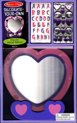 Melissa &  Doug #3349 Decorate-Your-Own Wooden Heart Mirror - New!