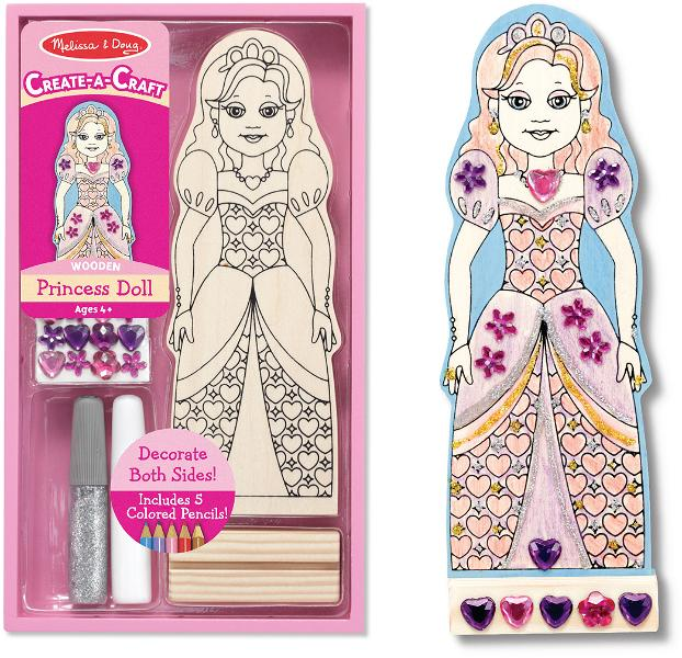 Melissa & Doug Create-A-Craft PRINCESS DOLL Pink Toy Wooden - Olde Church Emporium