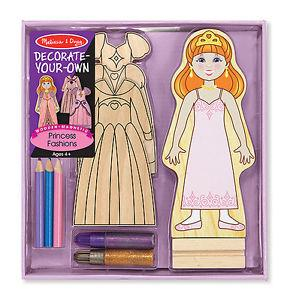Melissa & Doug Decorate Your Own Wooden Magnetic Princess Fashions