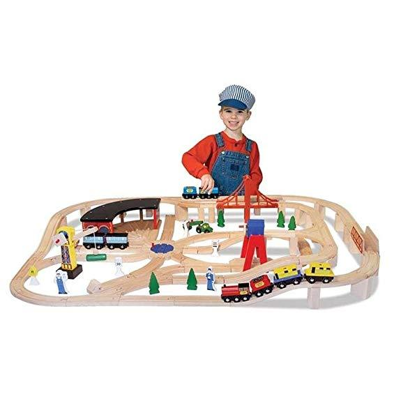 Melissa & Doug Children's Wooden Railway Set