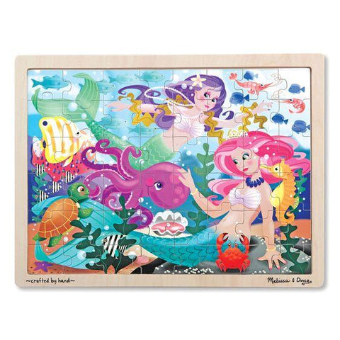 Melissa & Doug Mermaid Fantasea Wooden Jigsaw Puzzle 48 Pieces Wooden Case Ages 4+