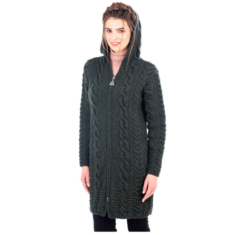 Merino Wool Aran Cable Knit Hooded Zip Coatigan 2 Colors Made in Ireland