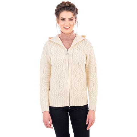 Ladies Merino Wool Double Collar Zipped Cardigan Made in Ireland
