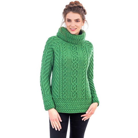 Merino Wood Ladies Cowl Neck Sweater Made in Ireland