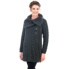 Classic Merino Wool Aran Cable Coat 6 Sizes 4 Colors Made in Ireland