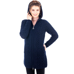 Celtic Merino Wool Aran Jacket 2 Colors 6 Sizes Made in Ireland - Olde Church Emporium