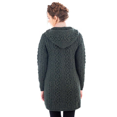 Celtic Merino Wool Aran Jacket 2 Colors 6 Sizes Made in Ireland