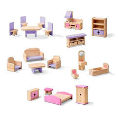 Melissa & Doug - Furnished Multi Level Solid Wood Dollhouse 18 Pieces Furniture