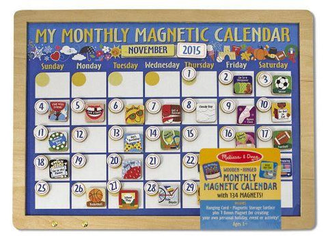 Melissa and Doug - My Monthly Magnetic Calendar - Wooden Hinged 134 Magnets