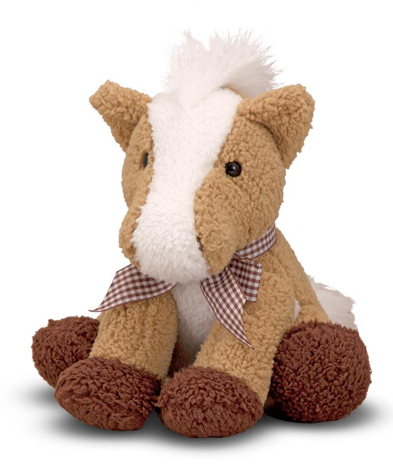"Melissa Doug Meadow Medley Plush Pony Stuffed Animal 8"" Tan White Horse Ribbon with Sound"
