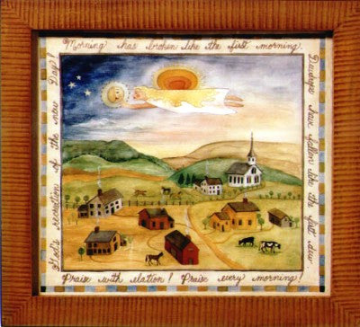 Fractur -Morning Is Breaking, American Folk Art, Collectible, Affordable Art