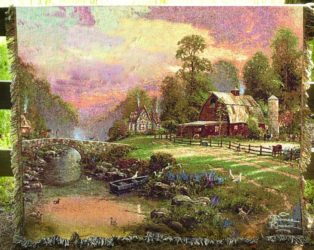 Thomas Kinkade Sunset at Riverbend Farm Tapestry Cotton Throw 68 x 51 inches Made in USA