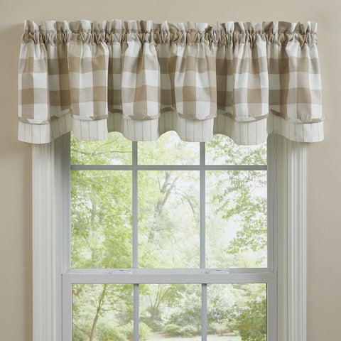 Park Design Wicklow Check Natural Lined Layered Valance 72 x 16 Inches Farmhouse, Country