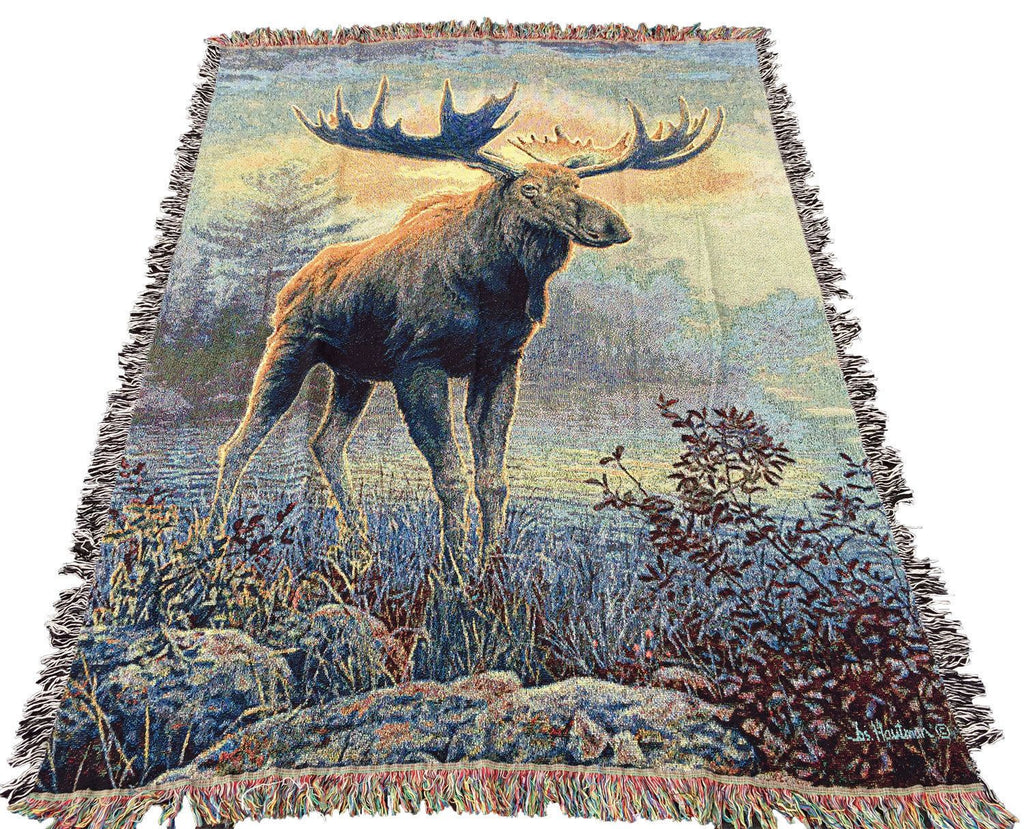 Northwoods Moose Tapestry Afghan Throw ~ Artist, Joseph Hautman 51 x 68 inches Made in USA