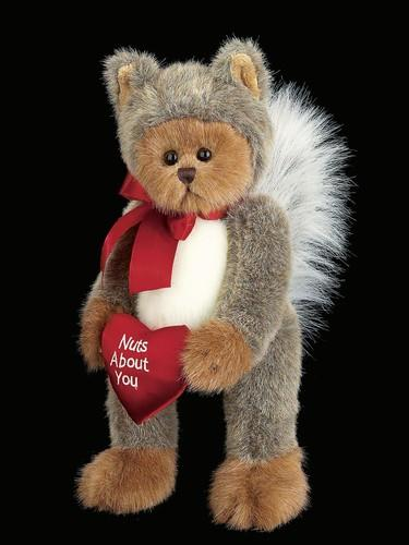 Bearington - Nuts About You Stuffed Animal Valentine's Teddy Bear in Squirrel Suit 13 Inches - Olde Church Emporium