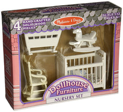 Melissa & Doug - Classic Wooden Dollhouse Nursery Furniture (4 pieces) - Crib, Cradle, Rocker, Rocking Horse [Home Decor]- Olde Church Emporium