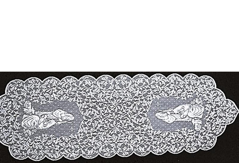 "Heritage Lace Christmas ""O Holy Night & Nativity ""Doilies Runners, Placemats white and Ecru Made in USA"