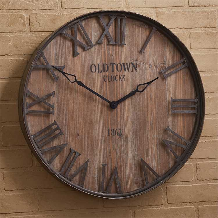 Park Designs -24-978 Old Town Galvanized Wood Wall Clock 35 Inches Diameter - Olde Church Emporium