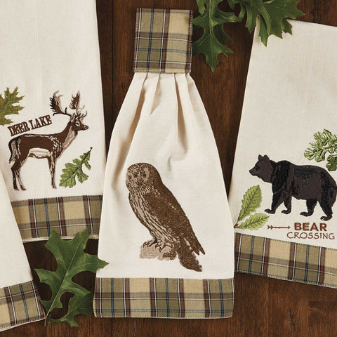 Park Design Sequoia Embroidered Decorative Owl Dishtowel 18 x 28 Inches Farmhouse, Country