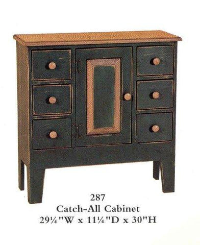 Amish Made Painted Catch All Cabinet - Primitive Black - Made in USA