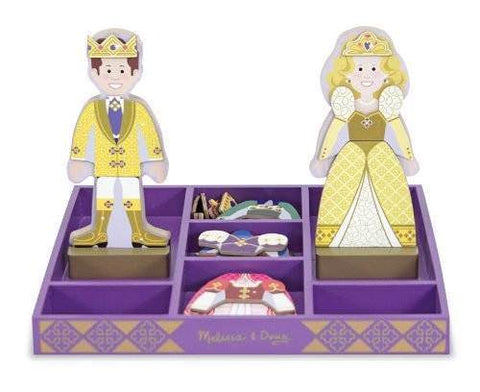 Melissa and Doug Wooden Magnetic Dress Up Prince and Princess Set