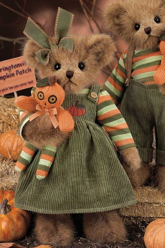 Bearington - Halloween Bear Peggy & Punkin - Fall, Pumpkin, Collectible Retired Bear