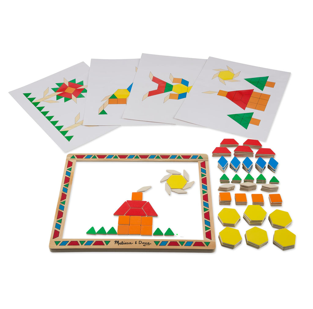 Melissa & Doug - Deluxe Wooden Magnetic Pattern Blocks Set - Educational Toy With 120 Magnets and Carrying Case - Olde Church Emporium