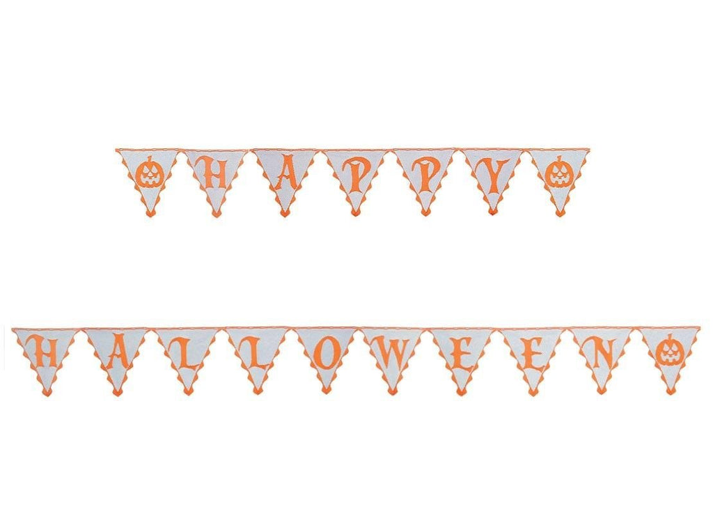 "Heritage Frightful Happy Halloween Pennant Banner 5 yd. bolt x 11""  Orange and Black"