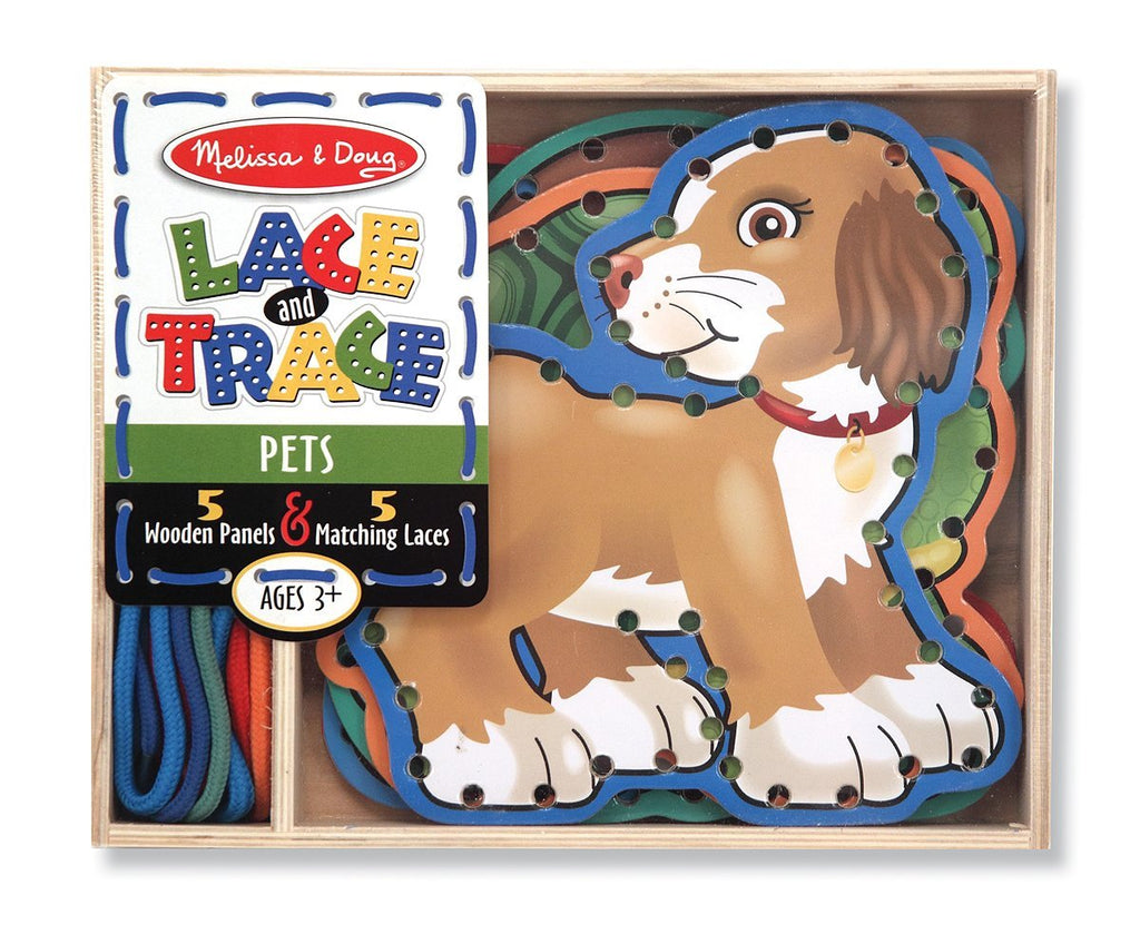 Melissa & Doug - Lace & Trace Pets 5 wooden panels and 5 matching laces [Home Decor]- Olde Church Emporium