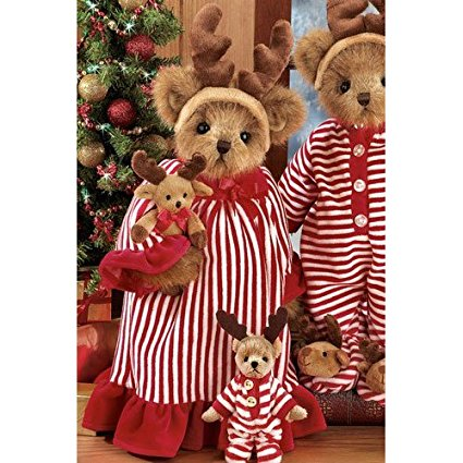 Bearington - Pircilla & Prancer Plush Christmas Bear 14 Inches and Retired - Olde Church Emporium