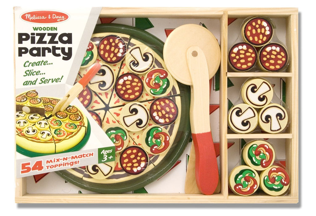 Melissa and Doug - Mix and Match Wooden Pretend Play Pizza Party Set [Home Decor]- Olde Church Emporium