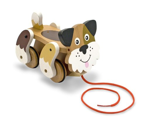 Melissa & Doug - Playful Puppy Wooden Pull Toy for Beginner Walkers [Home Decor]- Olde Church Emporium