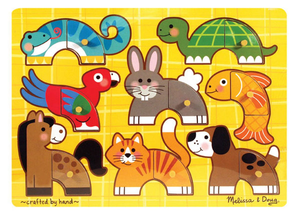 Melissa & Doug Pets Mix 'n Match - 8pc Wooden Peg Puzzle Ages 2+