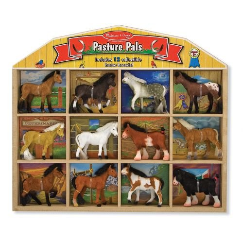 Melissa & Doug - Pasture Pals 12 Collectible Horses With Wooden Barn-Shaped Crate [Home Decor]- Olde Church Emporium