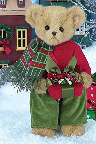 "Bearington - Christmas Holiday Bear ""Preston Presents""- 14 Inches and Retired"