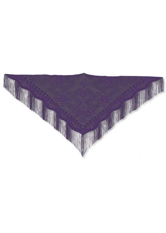 "Heritage Lace Dynasty Shawl with Fringe 41""x 84"" Made in U.S.A  Purple. Black, Red, Gold"