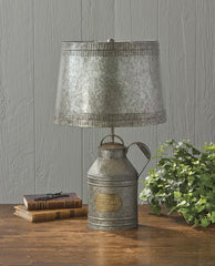 Antique Milk Can Lamp with Tin Shade
