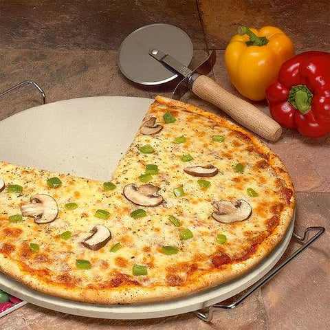 "15"" round superstone® baking stone with rack, pizza cutter and recipes"