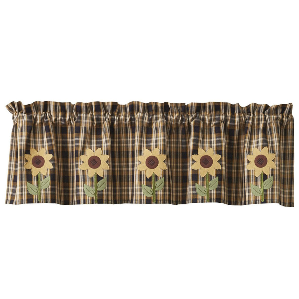 Park Designs Sunflower in Bloom Lined Appliqued Valance 60  x 14 Inches - Olde Church Emporium